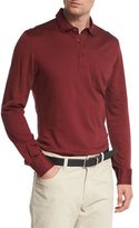 Ermenegildo Zegna Herringbone Long-Sleeve Polo Shirt, Red