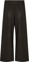 ADAM by Adam Lippes Cropped wide-leg leather trousers