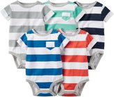"Carter's Baby Boys' ""Stripe & Pocket"" 5-Pack Bodysuits"