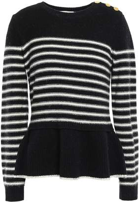 Kate Spade Striped Knitted Peplum Sweater