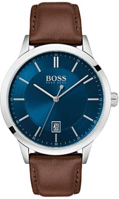 HUGO BOSS Officer Classic Stainless Steel & Leather-Strap Watch
