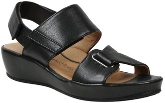 L'Amour des Pieds Leather Low Wedge Sandals - Calantha