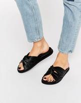 Faith Julie Black Leather Slider Sandals