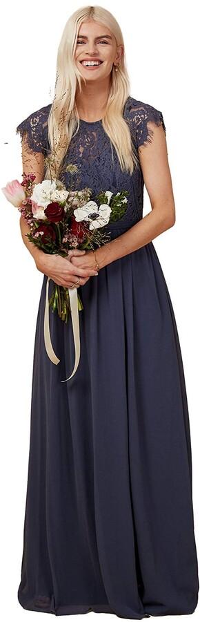 Thumbnail for your product : Little Mistress Bridesmaid Sonja Gunmetal Lace Maxi Dress 8 UK Gunmetal
