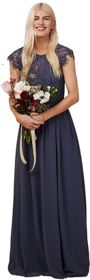 Little Mistress Bridesmaid Sonja Gunmetal Lace Maxi Dress 6 UK Gunmetal