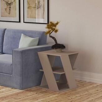 Latitude Run Ackerley Floor Shelf End Table with Storage Color: Light Mocha
