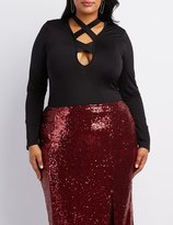 Charlotte Russe Plus Size Strappy Wrapped Neck Bodysuit