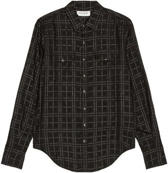 Saint Laurent Slim Western Shirt in Black & White | FWRD