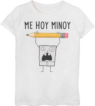"SpongeBob Squarepants Licensed Character Girls' 7-16 DoodleBob ""Me Hoy Minoy"" Tee"