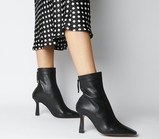 Office Address Dressy Square Toe Boots Black Leather