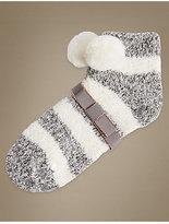 M&S Collection Pom Pom Striped Slipper Socks