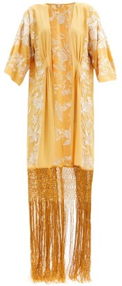 Johanna Ortiz Floral-embroidered Silk Kimono-style Jacket - Yellow Multi