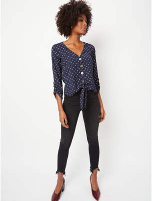 George Navy Polka Dot Button Down Knot Front Blouse