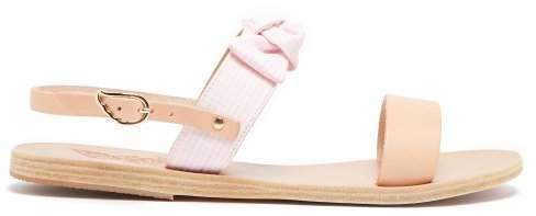 Ancient Greek Sandals Clio Bow Embellished Leather And Cotton Sandals - Womens - Pink White