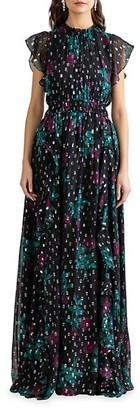 Shoshanna Triana Floral Metallic Gown