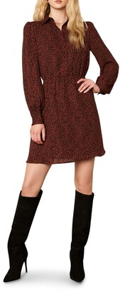 Cupcakes And Cashmere Sheryl Leopard Print Long Sleeve Minidress