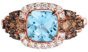 LeVian Le Vian Chocolatier Blue Topaz (1-1/2 ct. t.w.) & Diamond (5/8 ct. t.w.) Ring in 14k Strawberry Gold