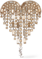 Saint Laurent Silver-plated Crystal Brooch - one size