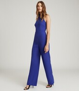 Thumbnail for your product : Reiss Dory - High Neck Open Back Jumpsuit in Blue