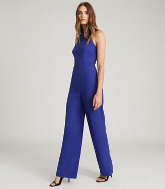 Reiss Dory - High Neck Open Back Jumpsuit in Blue