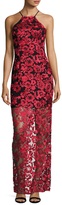 ABS by Allen Schwartz Embroidered Lace Halter Gown