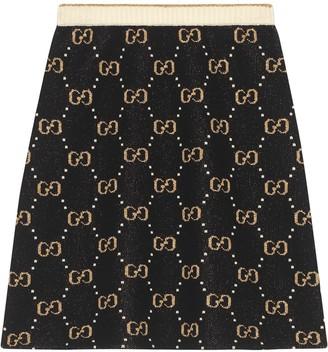 Gucci GG pattern knit A-line skirt
