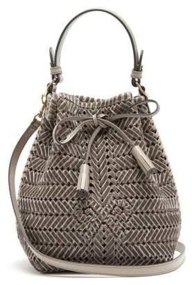 Anya Hindmarch The Neeson Mini Woven Velvet Bucket Bag - Womens - Grey