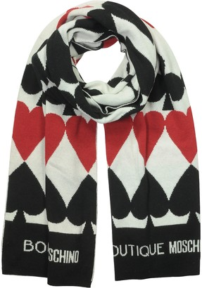 Moschino Boutique Woven Poker Wool, Viscose and Cashmere Blend Scarf