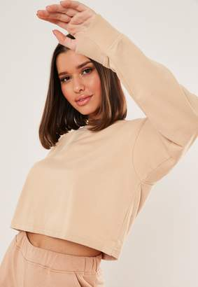 Missguided Sand Long Sleeve Cropped Sweatshirt