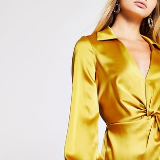 River Island Yellow twist front shirt