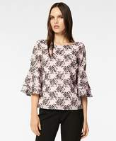 Brooks Brothers Floral-Embroidered Striped Cotton-Silk Jacquard Blouse