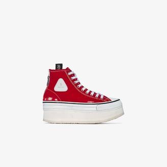 R 13 Red Distressed Platform Sneakers