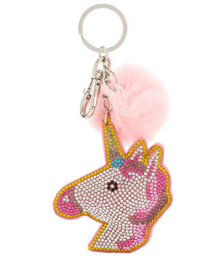 Bari Lynn Crystal Unicorn Head Keychain With Fur Pom Pom