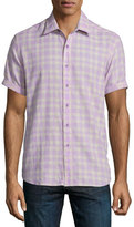 Robert Graham Campground Check Short-Sleeve Shirt, Lilac