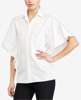 Lauren Ralph Lauren Flutter-Sleeve Cotton Shirt