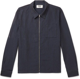 YMC Bowie Pinstriped Cotton And Linen-Blend Zip-Up Overshirt