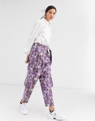 ASOS DESIGN purple snake leather look utility pants
