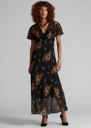 Ralph Lauren Floral Silk Chiffon Dress