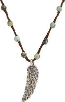 Feathered Soul Men's Oxidized Silver Feather on Turquoise Bead & Silk Cord-TURQUOISE
