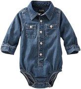 Osh Kosh Casual Woven Bodysuit (Baby) - Denim - 24 Months