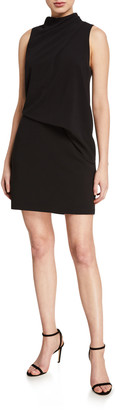 Halston Mock-Neck Sleeveless Mini Dress
