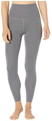Beyond Yoga Heather Rib High Waisted Midi Leggings (Gray Heather) Women's Casual Pants