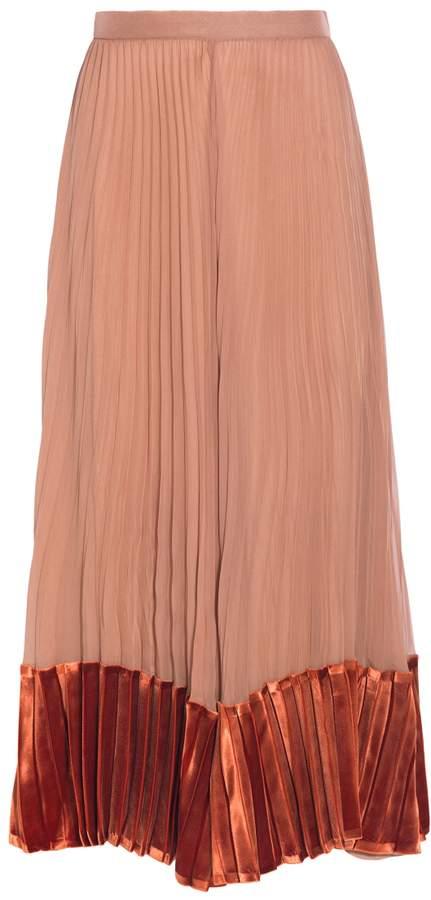 Valentino Pleated Velvet Midi Skirt