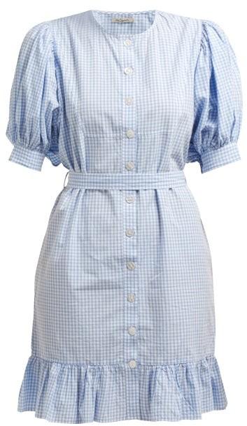 Mes Demoiselles Tropique Gingham Check Cotton Dress - Womens - Blue White