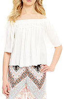 Takara Crochet Trim Off-The-Shoulder Elbow-Sleeve Top
