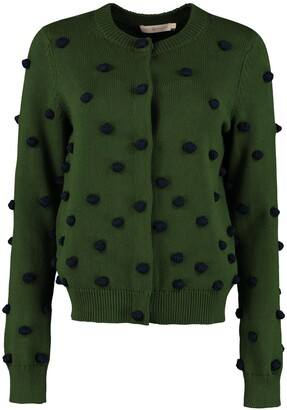 Tory Burch Tricot Cardigan With Pom-poms