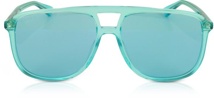 Gucci GG0262S Rectangular-frame Blue Acetate Sunglasses