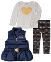 Juicy Couture Little Girls 3-Pc. Belted Vest, Heart Top & Printed Leggings Set
