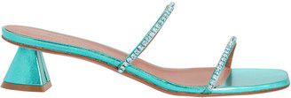 Amina Muaddi Gilda Metallic Slide Sandals