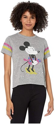Chaser Disney(r) Minnie Mouse Classic Minnie Tri-Blend High-Low Tee (Streaky Grey) Women's Clothing